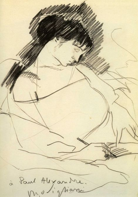 Amedeo Modigliani - Maud Abrantès, Encre, plume, 1907