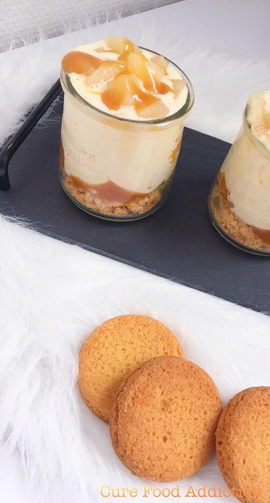 Verrine palet breton, poire et caramel au beurre salé