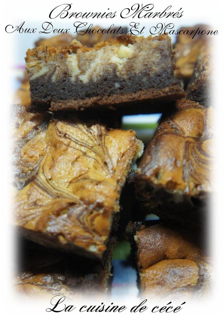 Brownies marbrés aux deux chocolats et mascarpone.