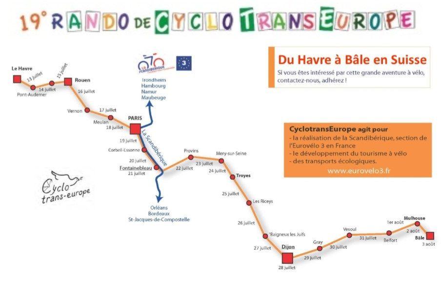 Le parcours de la rando-vélo 2019 organisée par CycoTransEurope.