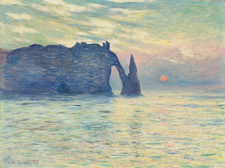 Etretat, soleil couchant, 1882-1883 Raleigh, Musée d'art de Caroline du Nord (Etats-Unis)