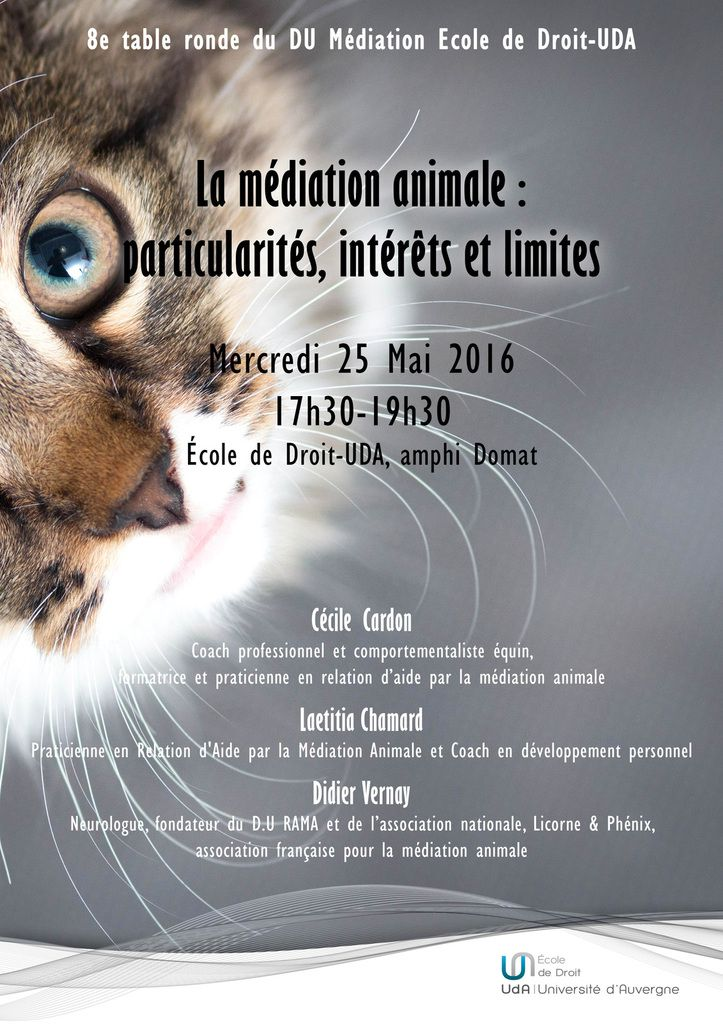 Table ronde Médiation animale 25 mai 2016 à Clermont Fd