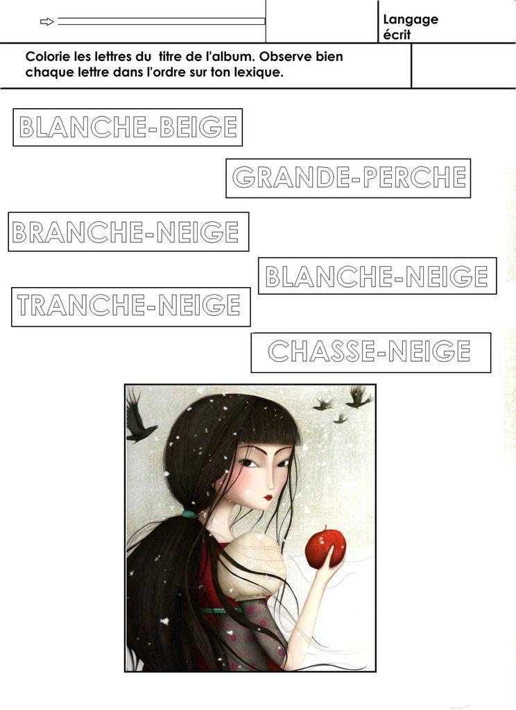 Coloriage Blanche Neige Maternelle.Blanche Neige Identifier Le Bon Titre Ecole Maternelle Gellow