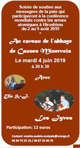 un messager de la paix à Hiroshima en août 2019 et soirée de soutien à l'abbaye de Caunes le 4 juin