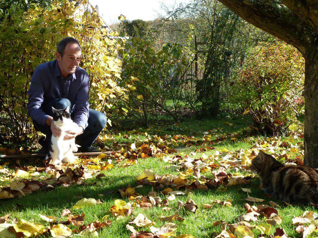 L'occasion de vous présenter nos nouveaux pensionnaires: le coq et le chat Irun qui s'est installé chez nous pendant nos vacances à vélo.