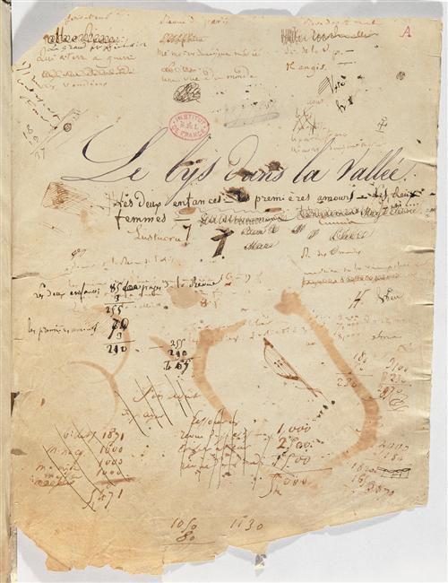 """Manuscrit autographe : """"Le Lys dans la vallée"""" (page de titre) Balzac Honoré"""