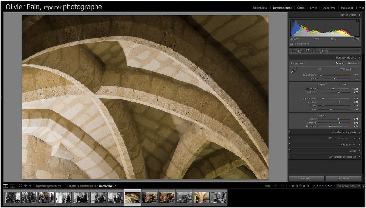 Illustration : capture d'écran du logiciel Adobe Lightroom 5. Logiciel spécialisé, entre autres choses dans le développement numérique des fichiers RAW.