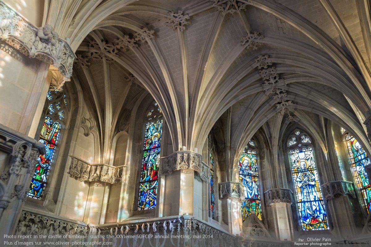 Photographie du jour : architecture intérieure à Amboise Les vitraux de la chapelle du château