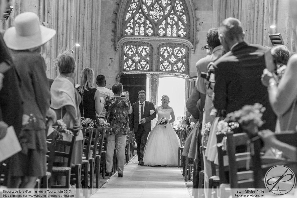 Reportage lors d'un mariage à la cathédrale de Tours.
