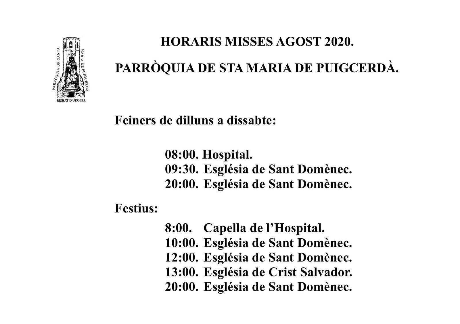 Parròquia Santa Maria de Puigcerdà (Horaires Messes/Horaris Misses)