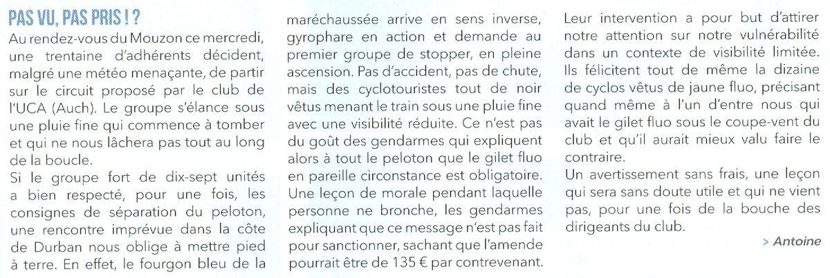 """Extrait de la revue """"Cyclotourisme"""", mars 2017."""