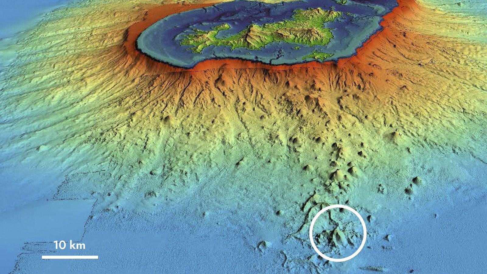 Vue sous-marine du volcan au large de Mayotte. (photo IPGP)