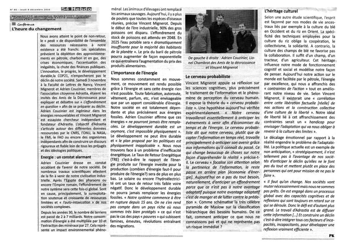 """Article de """"54Hebdo"""" par Pauline Klein sur conférence ADRASTIA - Amis de la décroissance Nancy"""