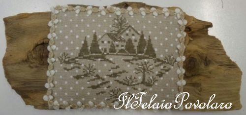 Altro lino naturale a pois ed altro paesaggio in mezzo alla neve ...  di Parolin??