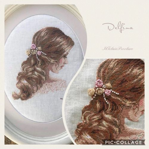 ... E ...roselline anche tra i capelli di uno splendido ritratto di donna a punto croce