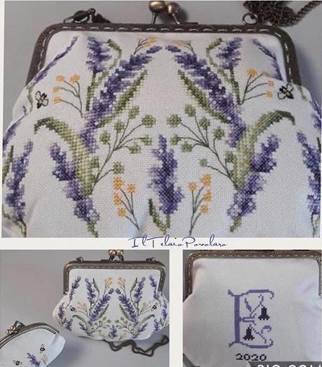 Una deliziosa borsettina  con chiusura clic clac ... ricamata con motivi di lavanda