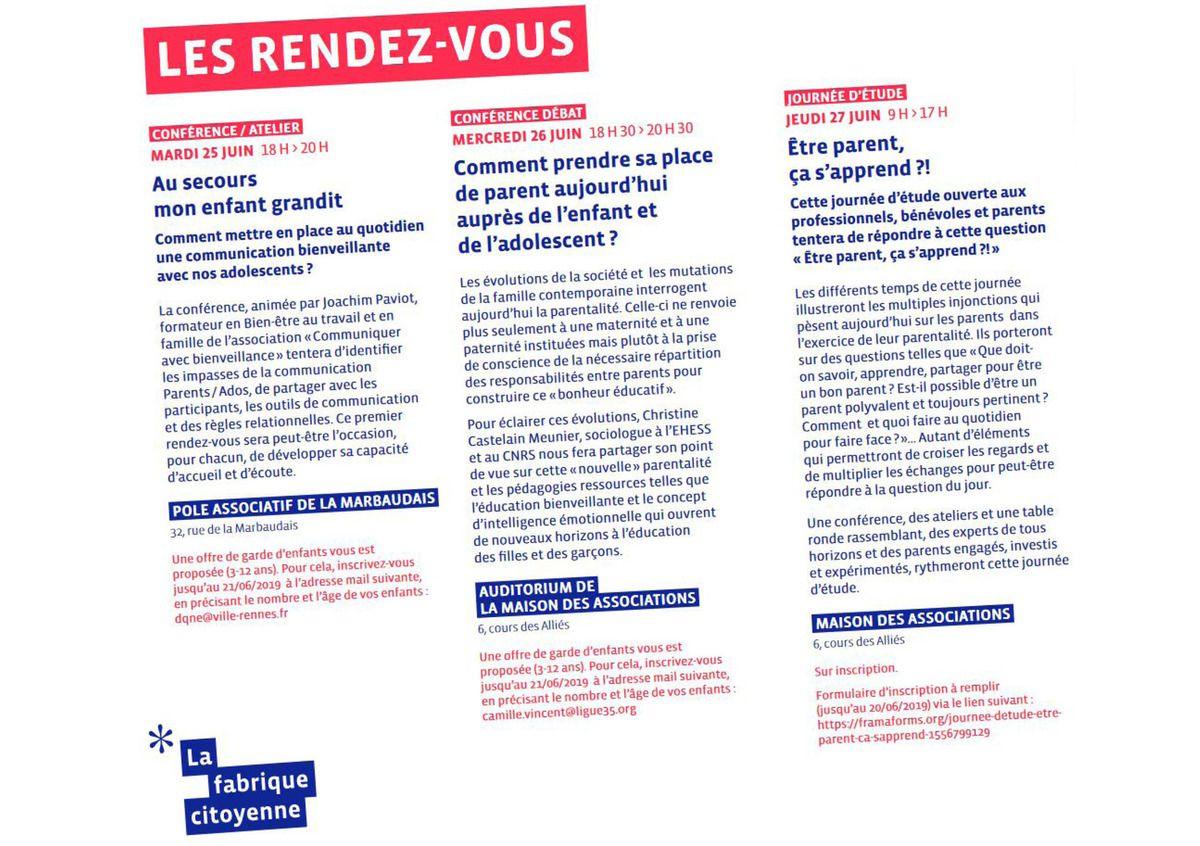 Du 25 au 29 juin 2019, Rennes, Semaine Parentalité et Education