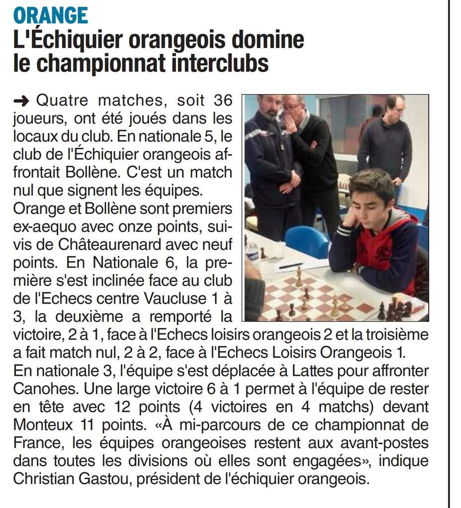 Échecs Interclubs : Orange à l'honneur dans Vaucluse Matin