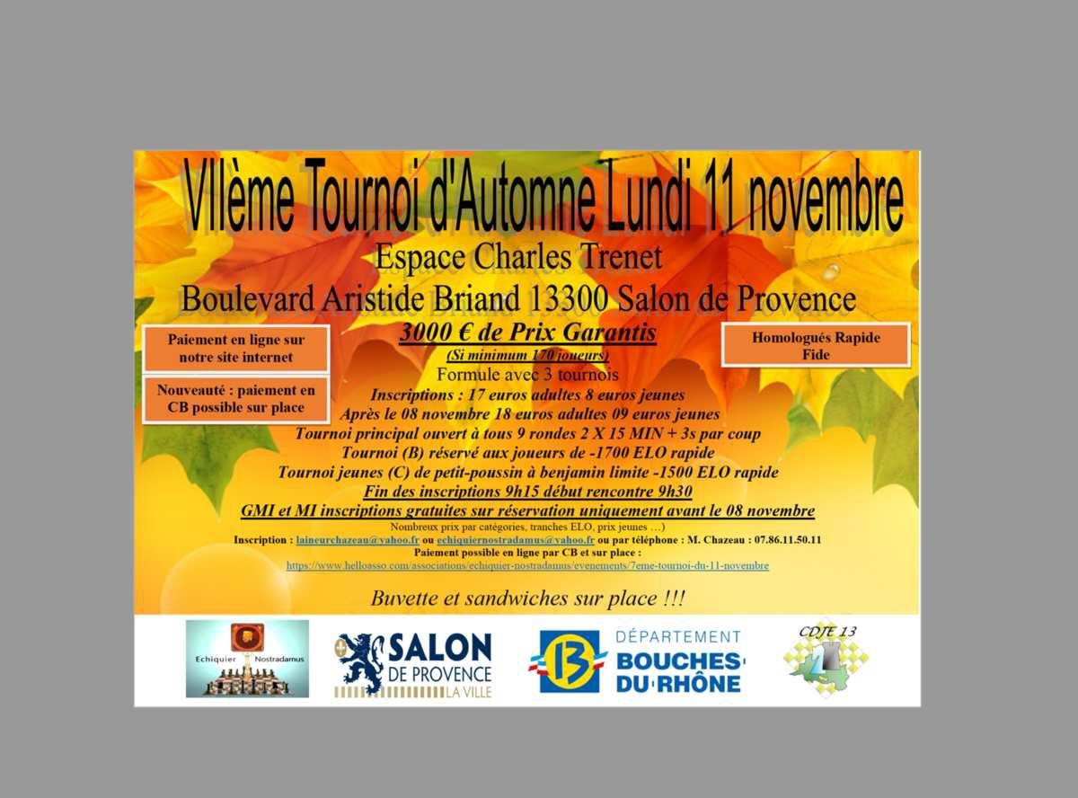 Tournoi d'Échecs : Lundi 11 novembre, tournoi d'automne à Salon