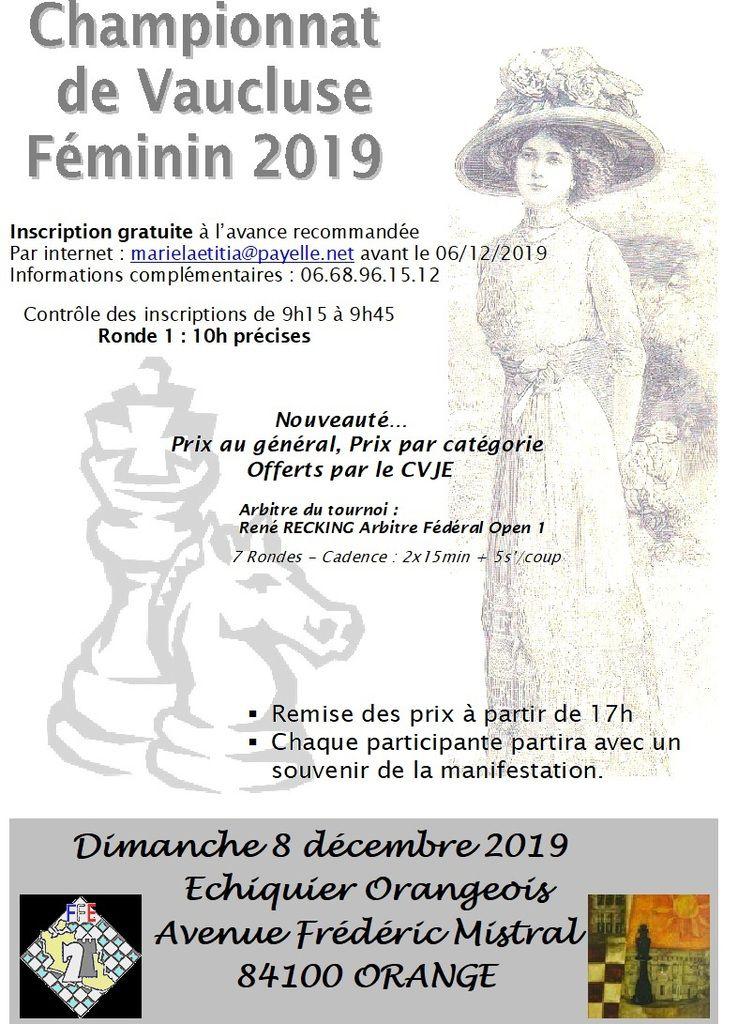 Championnat de Vaucluse Féminin : dimanche 8 décembre à Orange