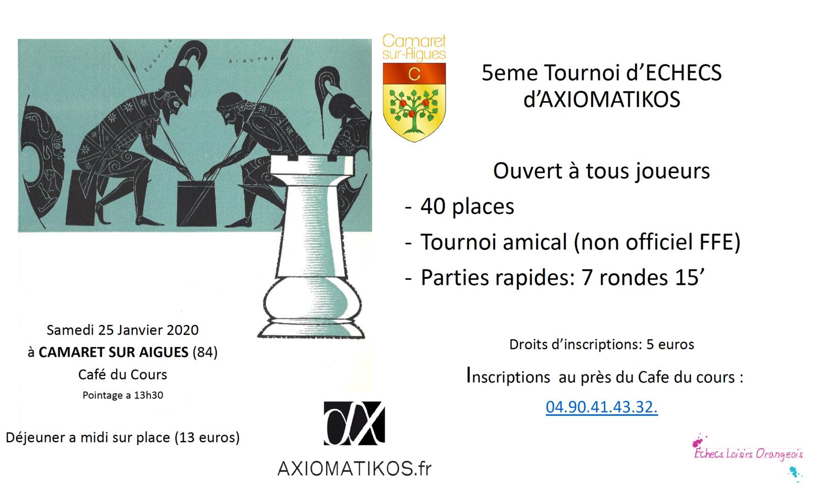 Tournoi d'Échecs loisirs : Axiomatikos le 25 janvier à Camaret