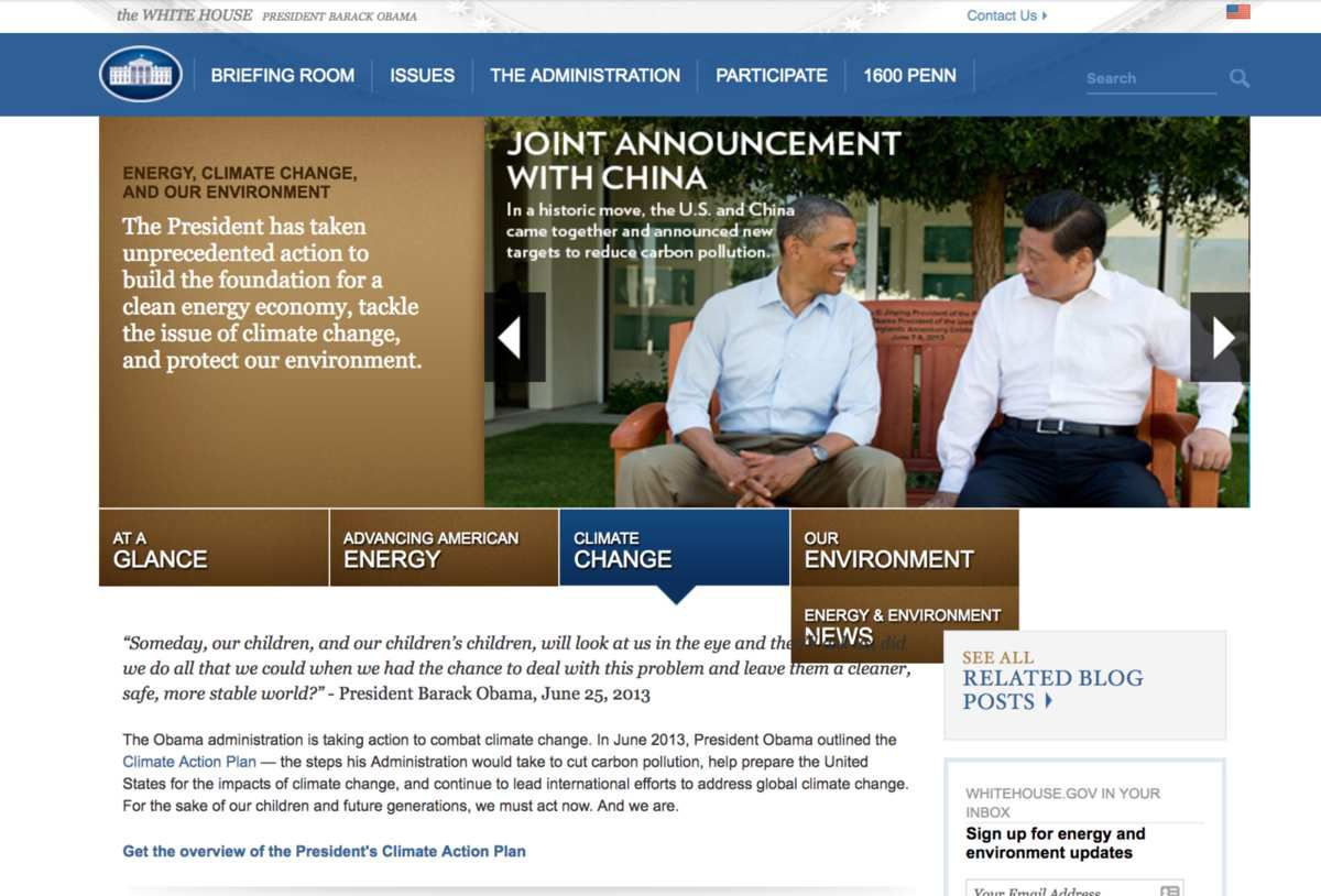 USA: Le réchauffement climatique disparaît du site de la Maison-Blanche