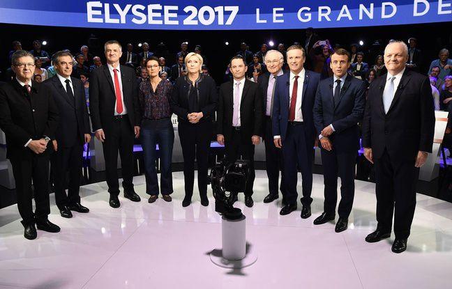 Les onze candidats à l'élection présidentielle dans «Le Grand Débat» sur BFM TV et CNEWS, le 4 avril 2017. – Lionel BONAVENTURE / POOL / AFP