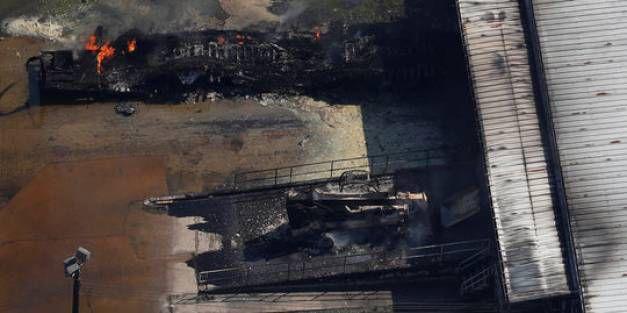 Lors d'un précédent incendie dans l'usine Arkema de Crosby, au Texas, le 31 août 2017.