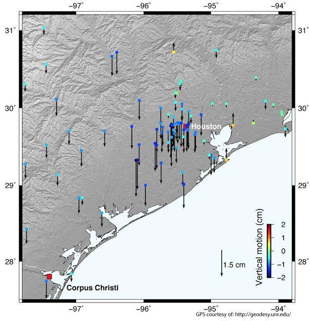 NASA: Les données GPS montrent que l'eau d'inondation de l'ouragan Harvey a enfoncé la croûte terrestre jusqu'à 2 centimètres dans certaines parties de Houston