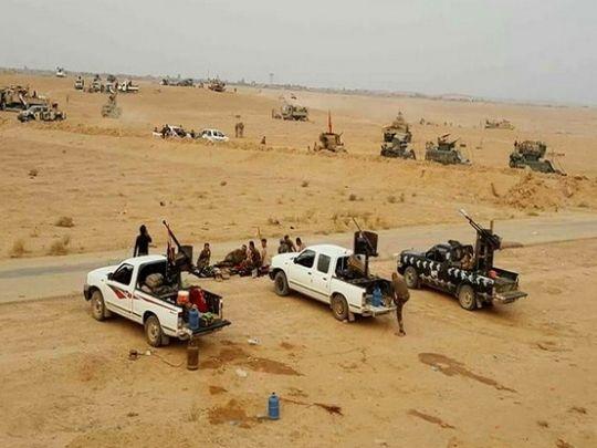 Photo d'illustration: Les forces irakiennes se déploient près de la ville d'Anah plus au nord dans l'Anbar après avoir réussi le 22 septembre à chasser « l'EI en Irak et en Syrie » de la ville. [Capture page Facebook du régiment d'urgence de l'Anbar]