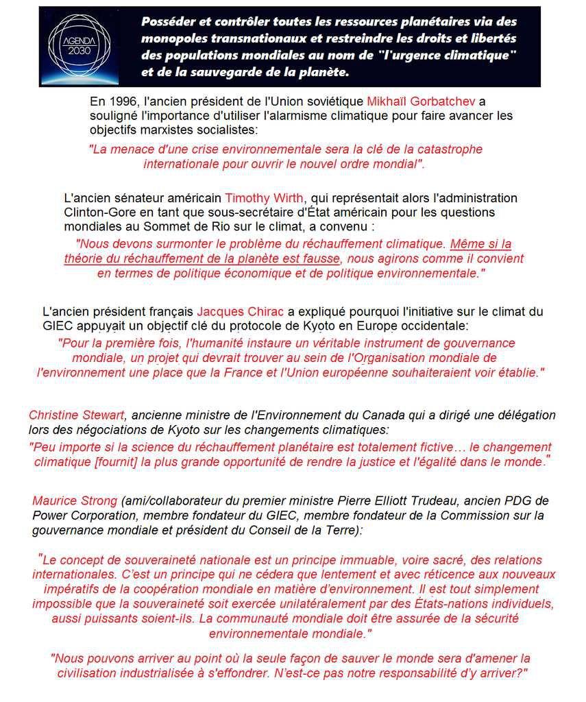 """L'Agenda 2030, """"l'urgence climatique"""" et la gouvernance mondiale"""