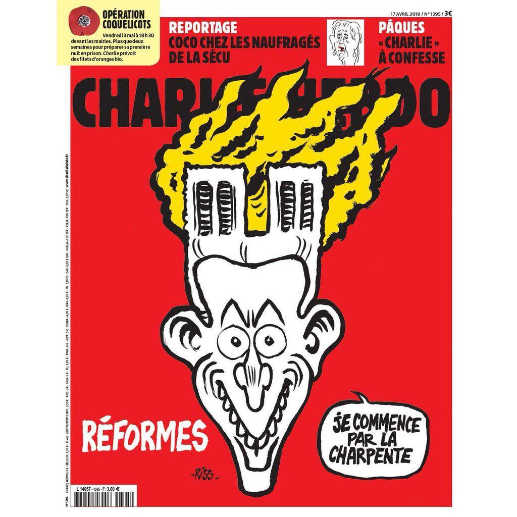 La Une très «satirique» de Charlie Hebdo liant Macron à l'incendie de Notre-Dame