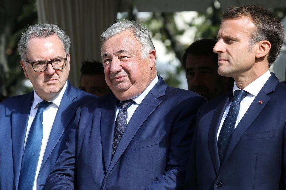 Le président de l'Assemblée nationale, Richard Ferrand, le président du Sénat, Gérard Larcher, et le président de la République, Emmanuel Macron, en septembre 2018 à Paris. Photo Ludovic Marin. AFP