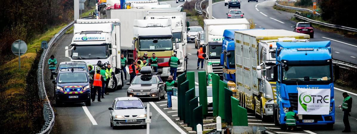 Mobilisation des transporteurs routiers : le point en France à la mi-journée