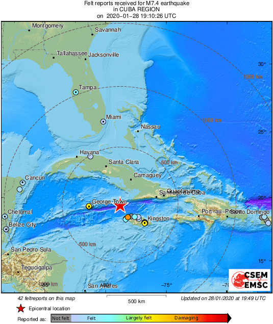 Un fort séisme de magnitude 7,7 fait trembler les Caraïbes, entre Cuba et la Jamaïque = Alerte au tsunami levée