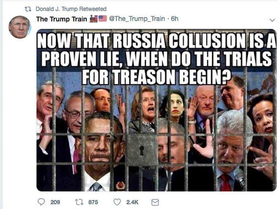 """USA : """"Maintenant que l'histoire de la collusion avec la Russie est un mensonge démontré, quand est-ce que les procès pour trahison commencent?"""" = LA DOULEUR ARRIVE ! Durham est le PUNISHER !"""