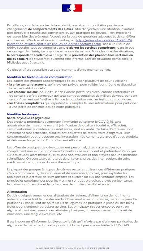EDUCSOL/ MINISTÈRE DE L'ÉDUCATION NATIONALE ET DE LA JEUNESSE Coronavirus et risque de replis communautaristes
