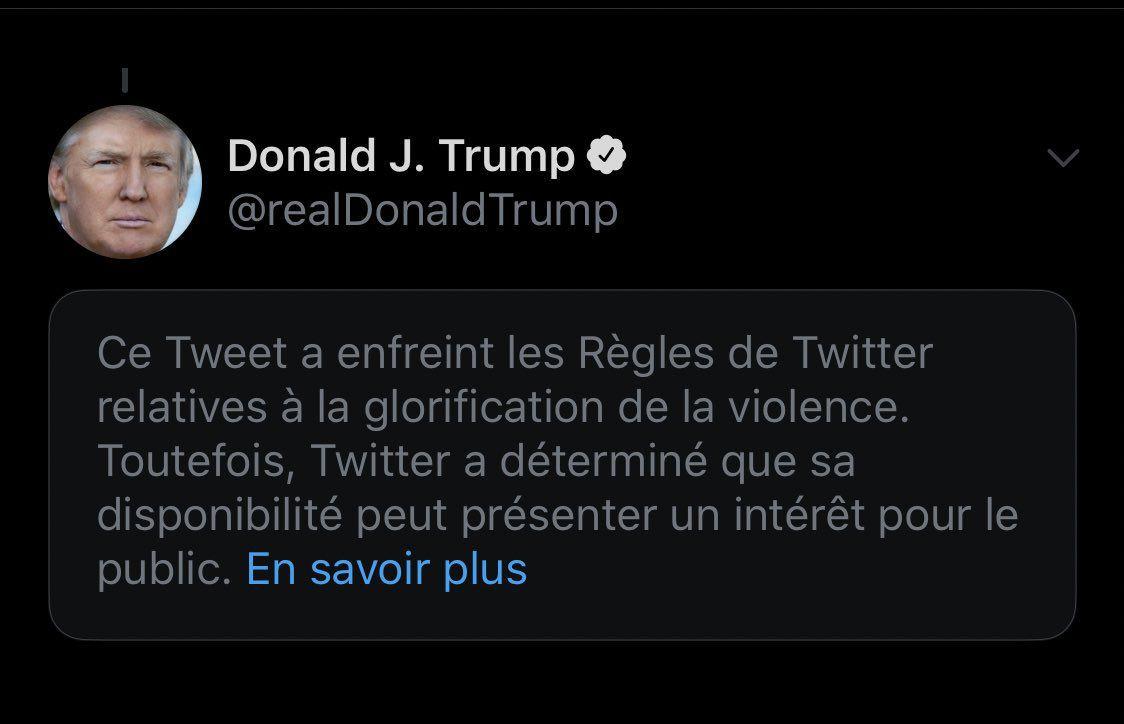 Twitter signale un tweet de Trump sur les émeutes de Minneapolis pour «apologie de la violence»