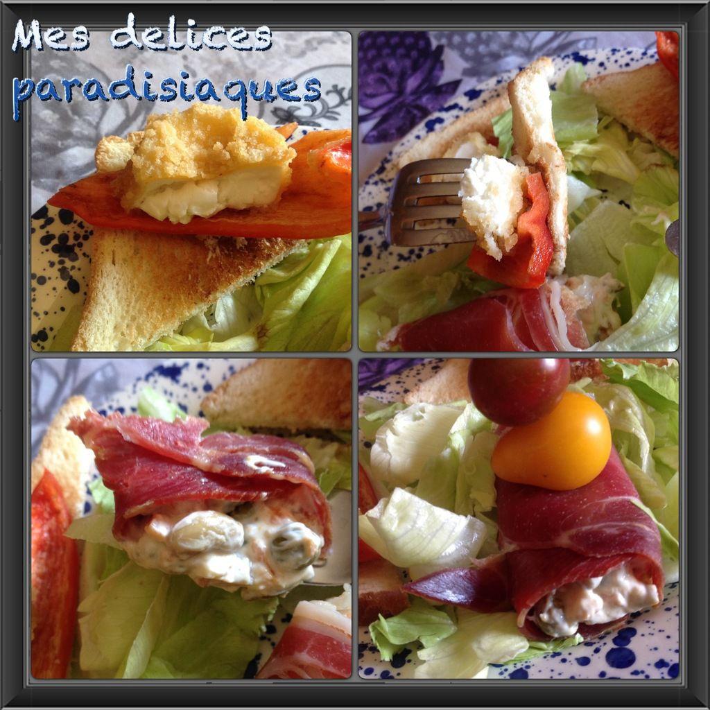 Salade de laitue iceberg, rouleau de jambon du pays macédoine, toasts grillés poivrons-chèvre