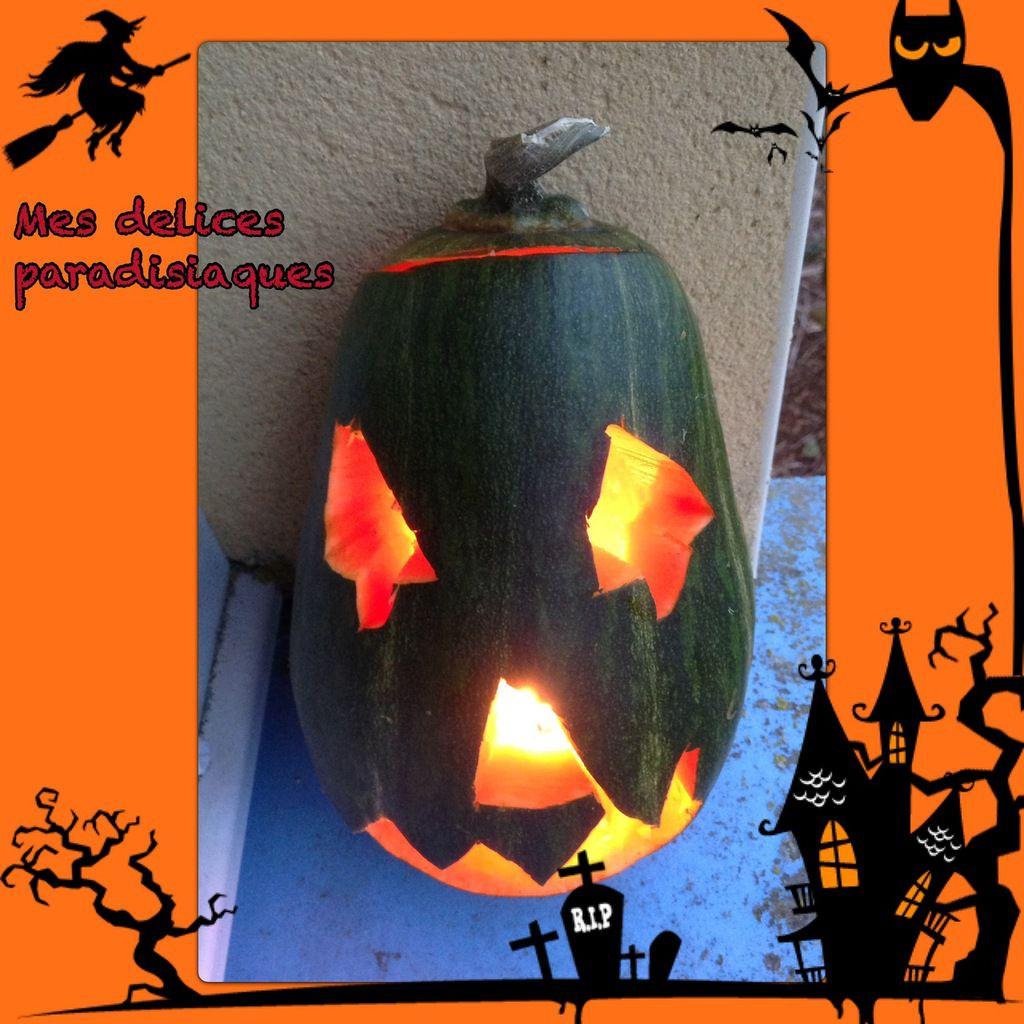 Décorations d'Halloween.. Courge illuminée..