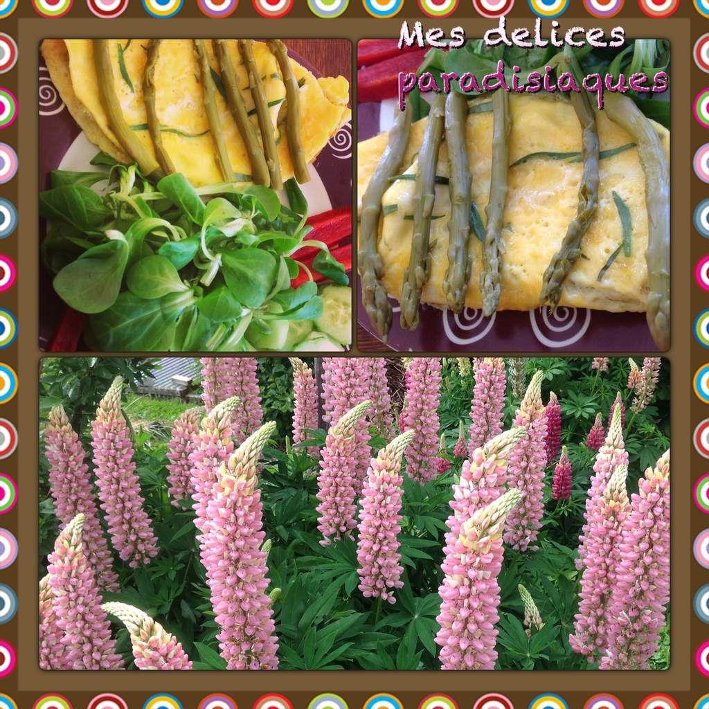 Omelette à l'estragon, asperges vertes, mâche, concombre au citron, bâtonnets de poivron rouge