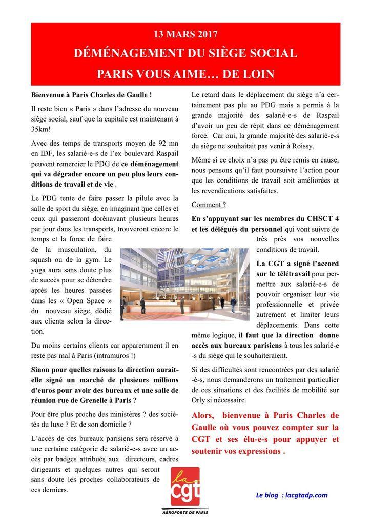 Déménagement du siège : Paris vous aime ... de loin !