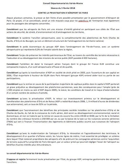 Le conseil départemental du 94 dit NON ! à la privatisation d'ADP