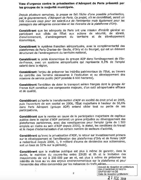 Voeu d'urgence contre la Privatisation d'ADP de la ville d'Orly