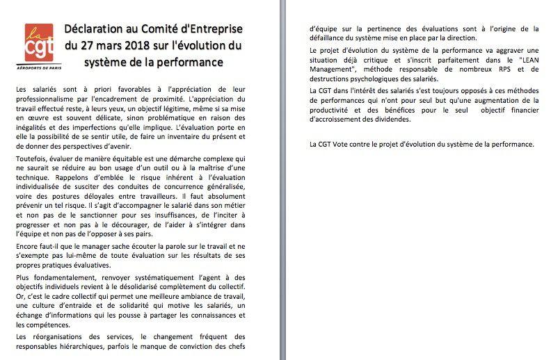 Declaration des élus CGT au CE contre le système de performance des cadres
