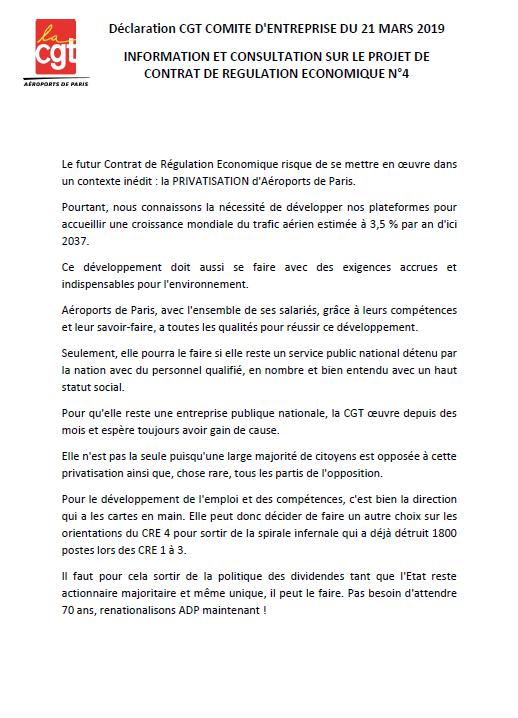 Position de la CGT au comité d'entreprise CRE4