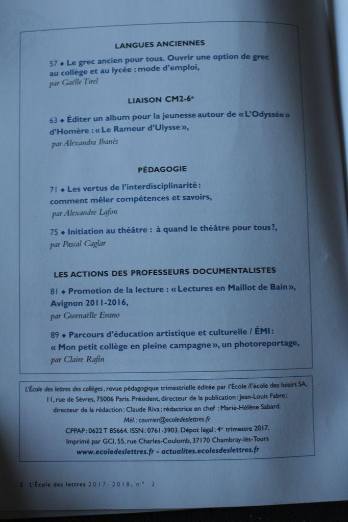 Ecole des lettres : LE RAMEUR D'ULYSSE