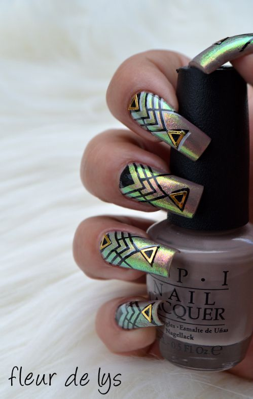 nail art géométrie, poudre licorne