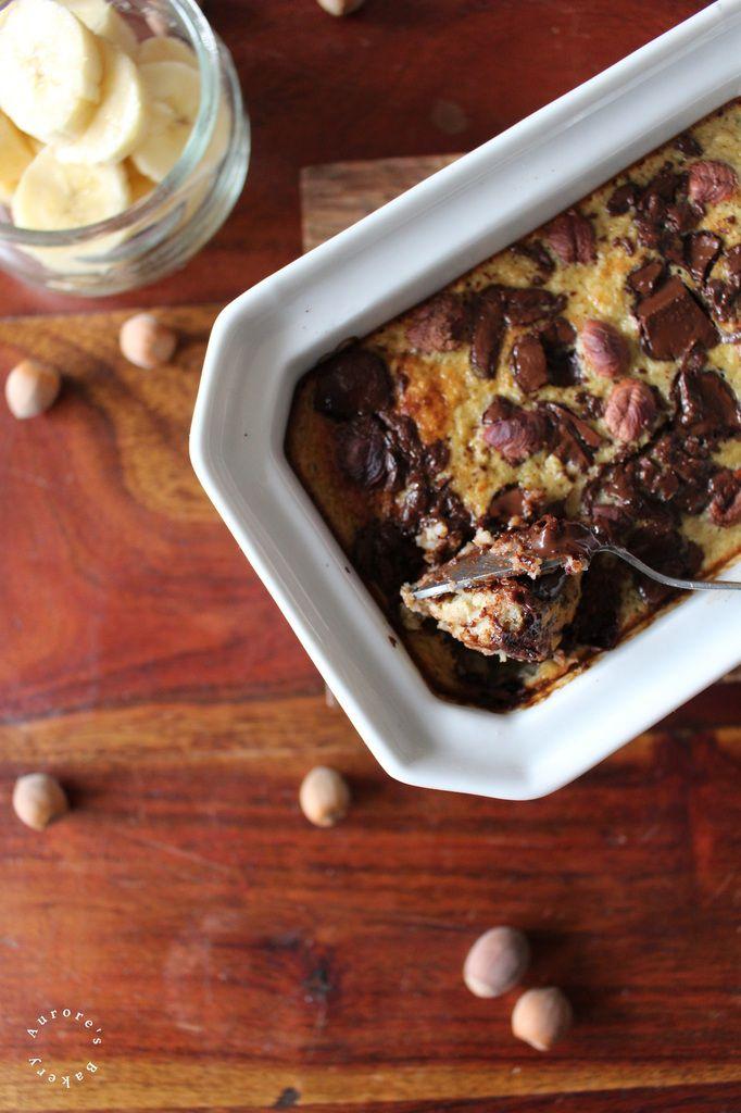 Backed Oatmeal à la banane, au chocolat & aux noisettes.