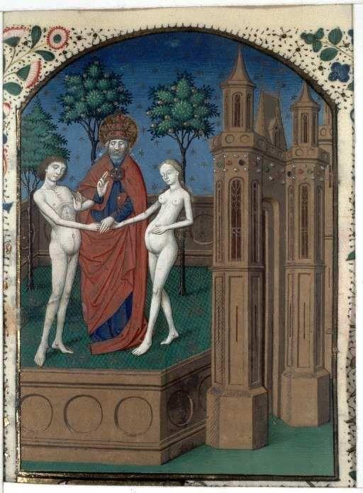 """""""Mariage d'Adam et Eve"""", manuscrit """"Cité des dieux"""" par Maître de l'Echevinage de Rouen (entre 1457 et 1480), BnF (Photo Wikimedia Commons)"""